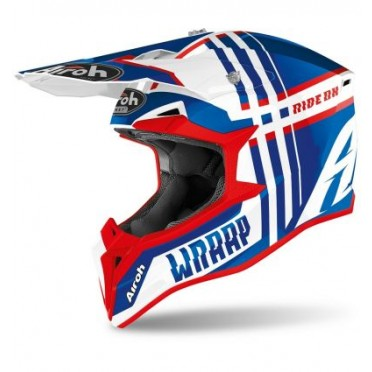 AIROH AIROH WRAAP YOUTH BROKEN BLUE/RED G